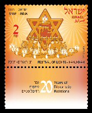 Stamp:Festivals of Lights - Hanukkah (Festivals of Lights - 20 Years of Diplomatic Relations Israel-India Joint I ssue), designer:Ronen Goldberg & Elka Sharma 11/2012