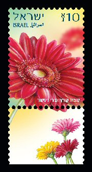 Stamp:Red Gerbera (Definitive Stamp), designer:Tuvia Kurtz & Miri Nistor 02/2014